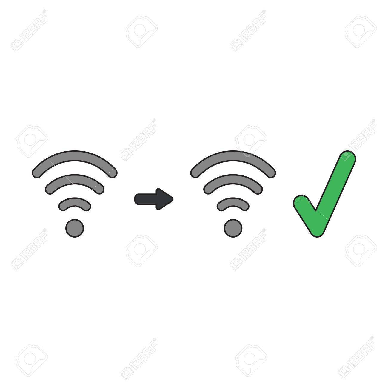 Vector icon concept of wireless wifi symbol signal increase with