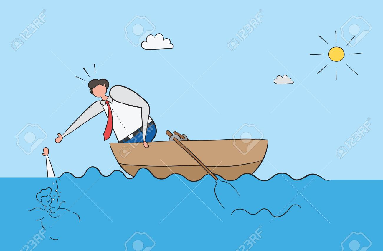 The businessman in the boat saves his friend who drowned in the sea. Black outlines and colored. - 129100475