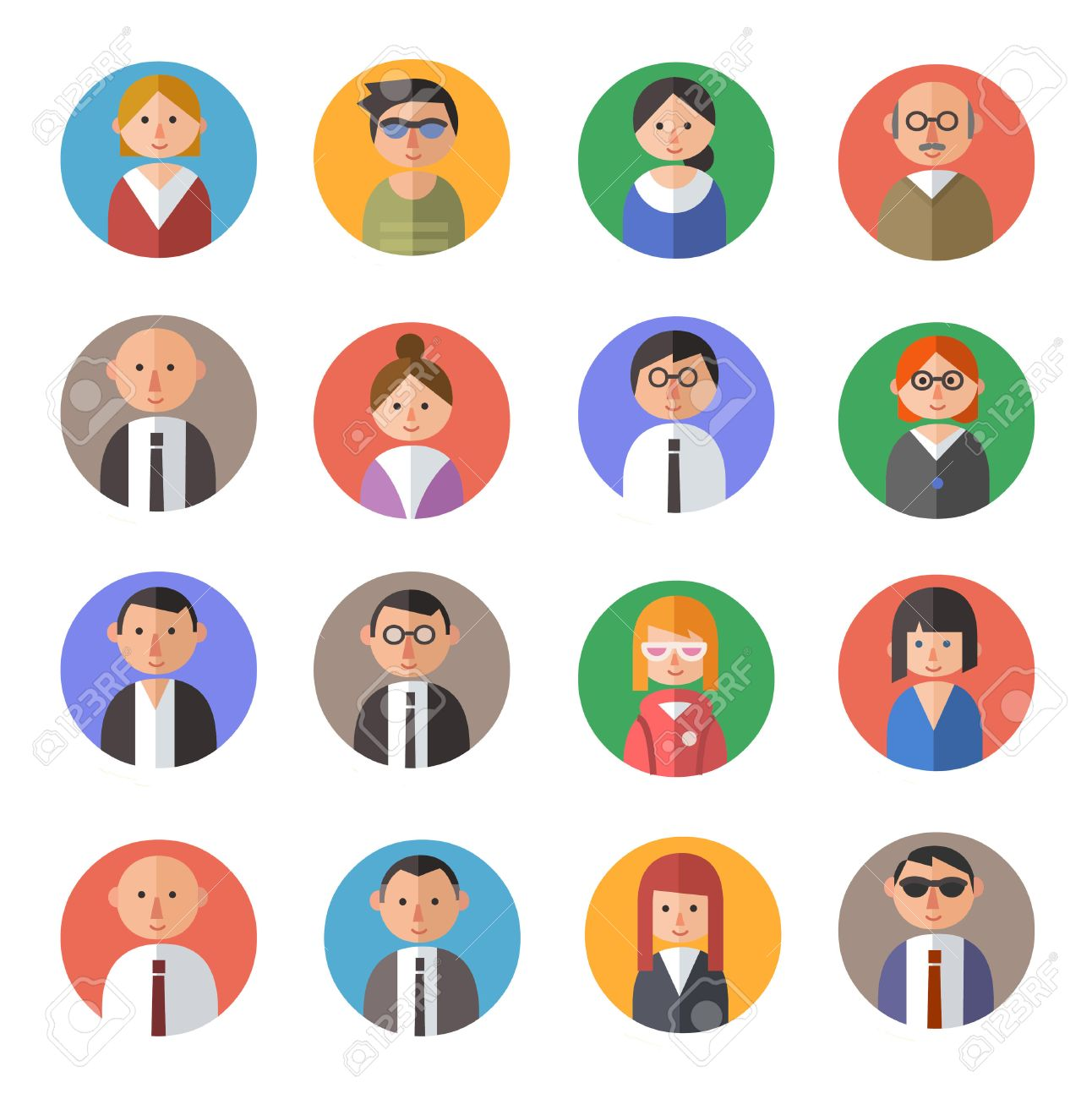 set of people avatars in flat material design style royalty free