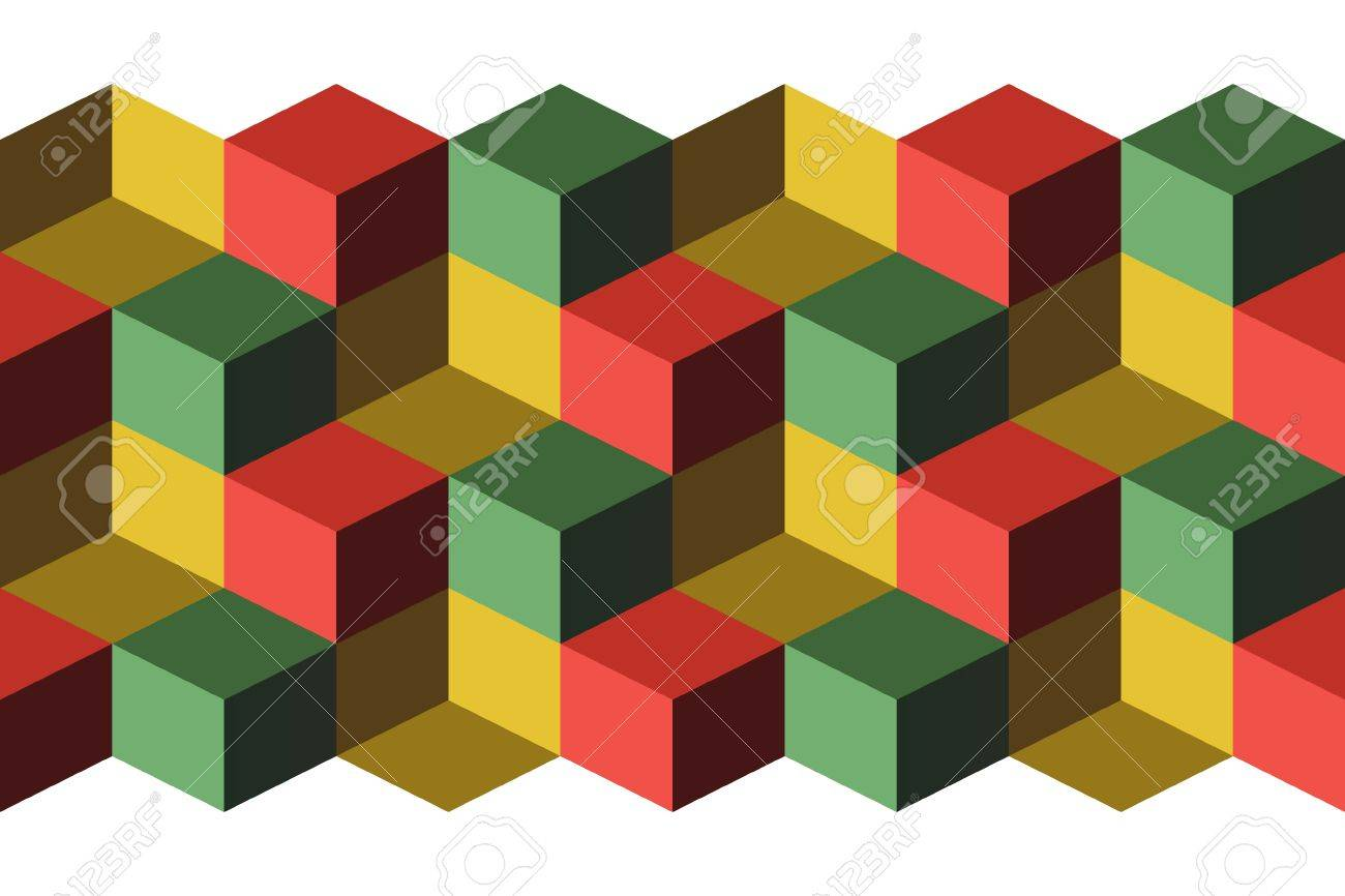 Cubes, infinite background, green, yellow and red cubes Stock Vector - 16584926