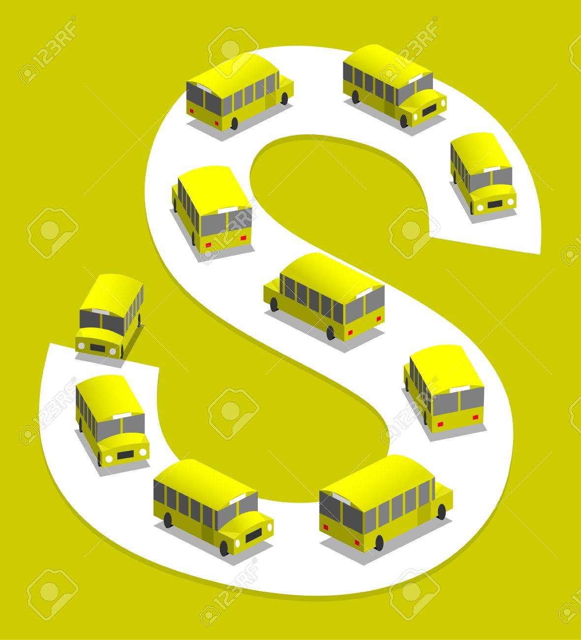 School bus on the road, 3D illustration Stock Vector - 17170465