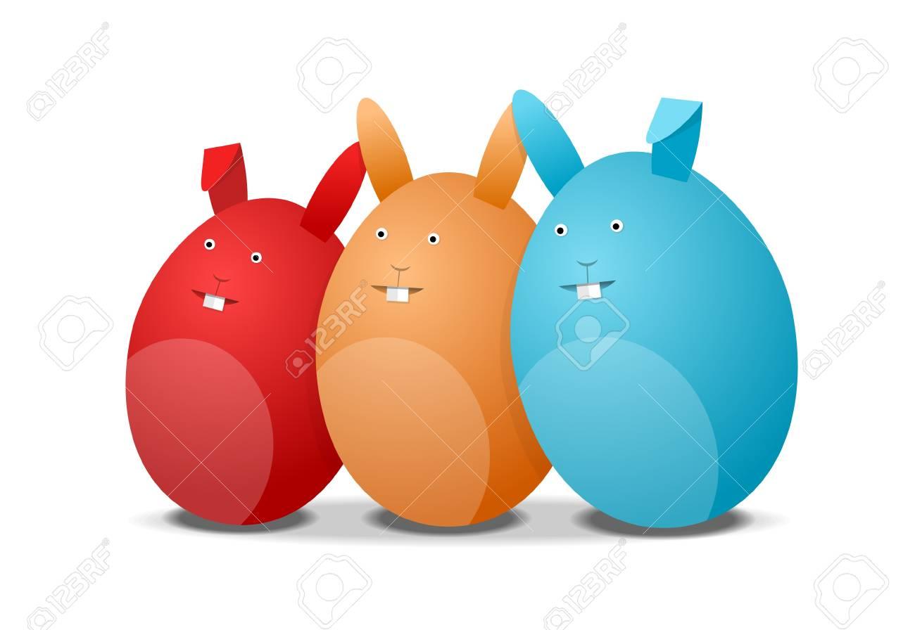 Rot Orange Und Blaue Eier Hasen Ostern Illustration Auf Weißem