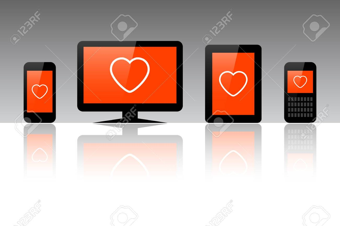 Heart symbol on a computer tablet and phone valentine vector heart symbol on a computer tablet and phone valentine vector illustration stock vector buycottarizona Choice Image
