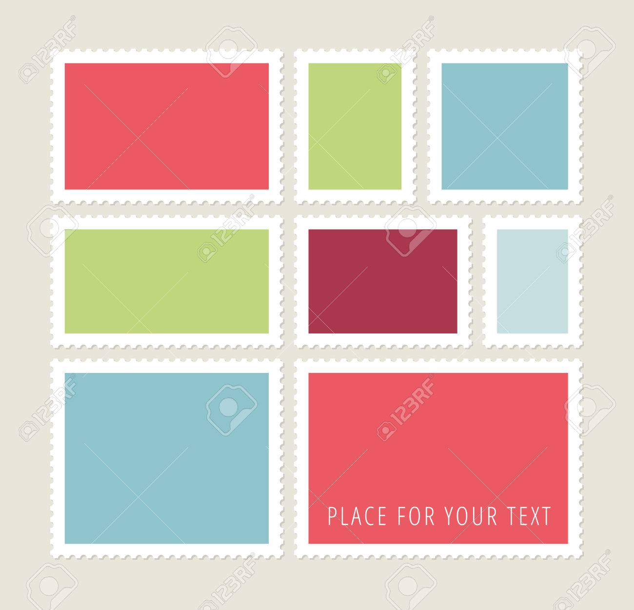Eight blank colorful postage stamps, vector templates with place for your images and text - 38759705