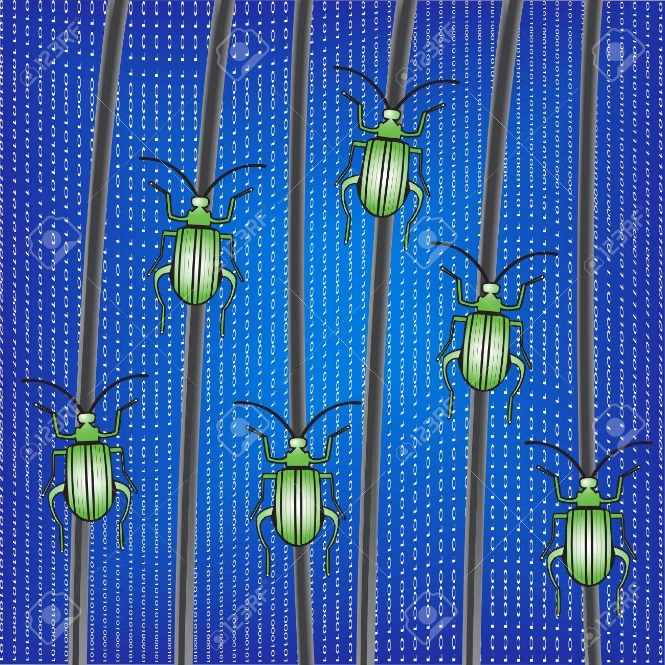 Bugs on a network cables. Vector Illustration. Stock Vector - 16219378