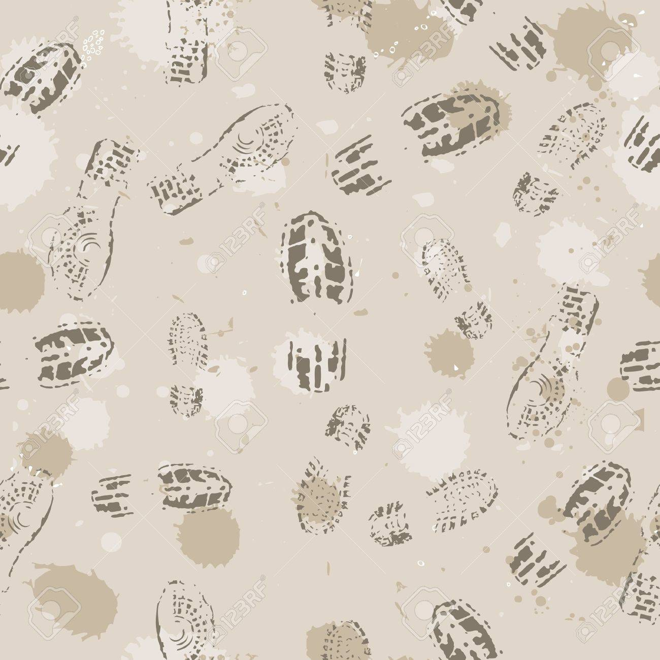 Grange seamless background with footprints. Vector illustration. Stock Vector - 16219276
