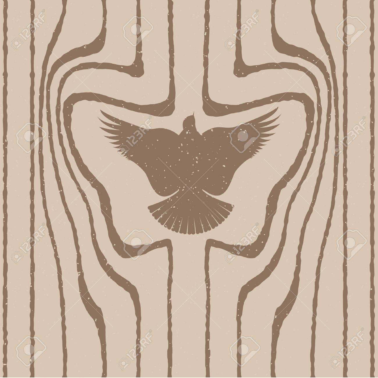 Wood grain stylized as a bird. Vector seamless background. Stock Vector - 16219330