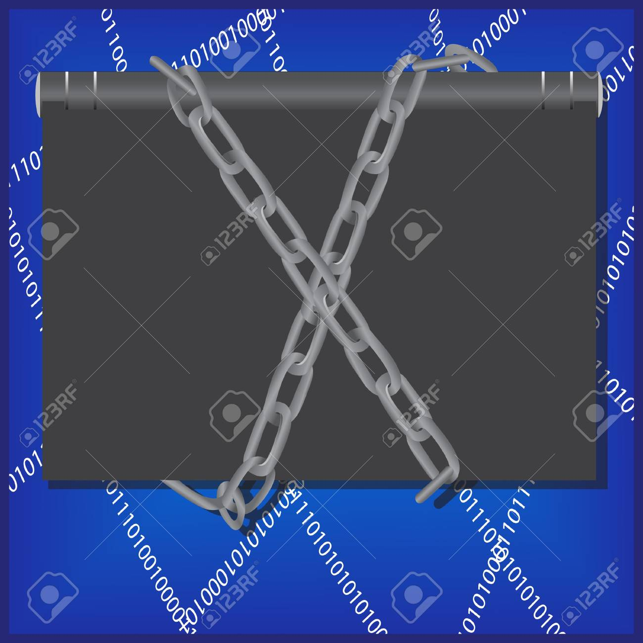 ensorship concept with notebook, chain and web  Illustration Stock Vector - 16345444
