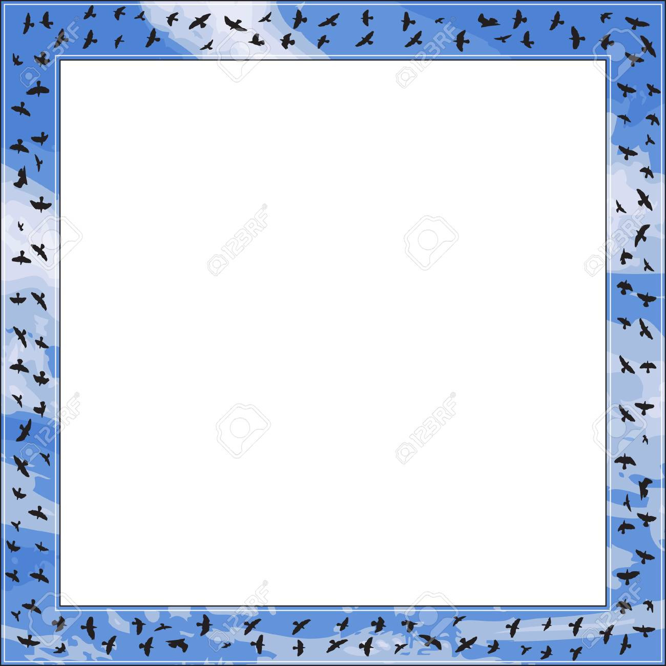 Square frame with bird and blue sky element Stock Vector - 17986786