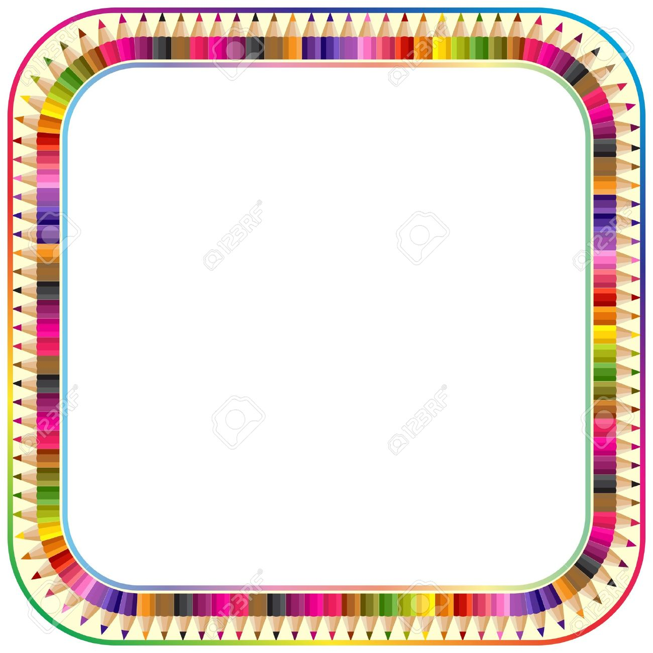 frame made from color pencils version with round corner royalty rh 123rf com Colorful Borders Colorful Borders