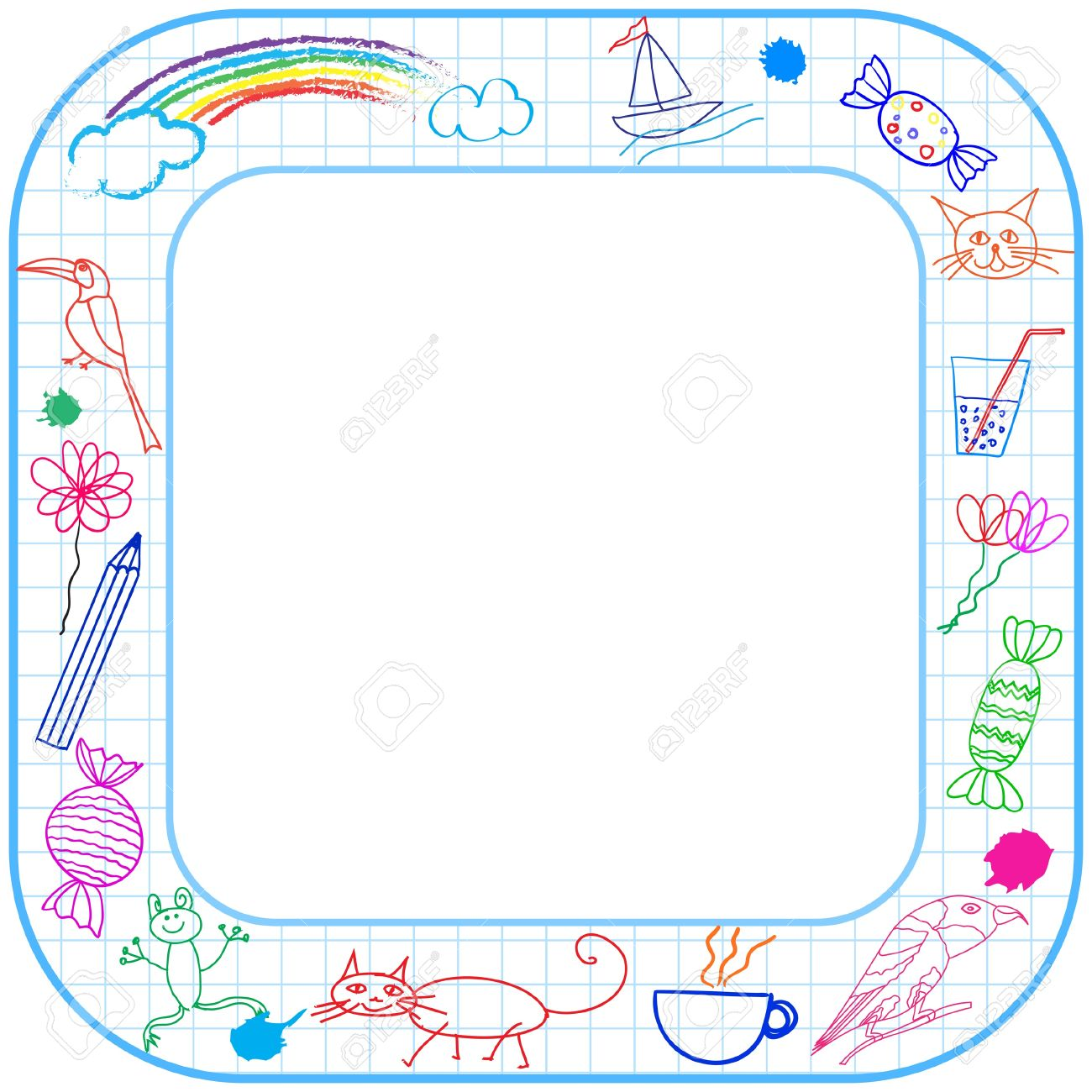 square border frame with round corner and child drawing on paper stock vector 20322561 - Drawing Frame