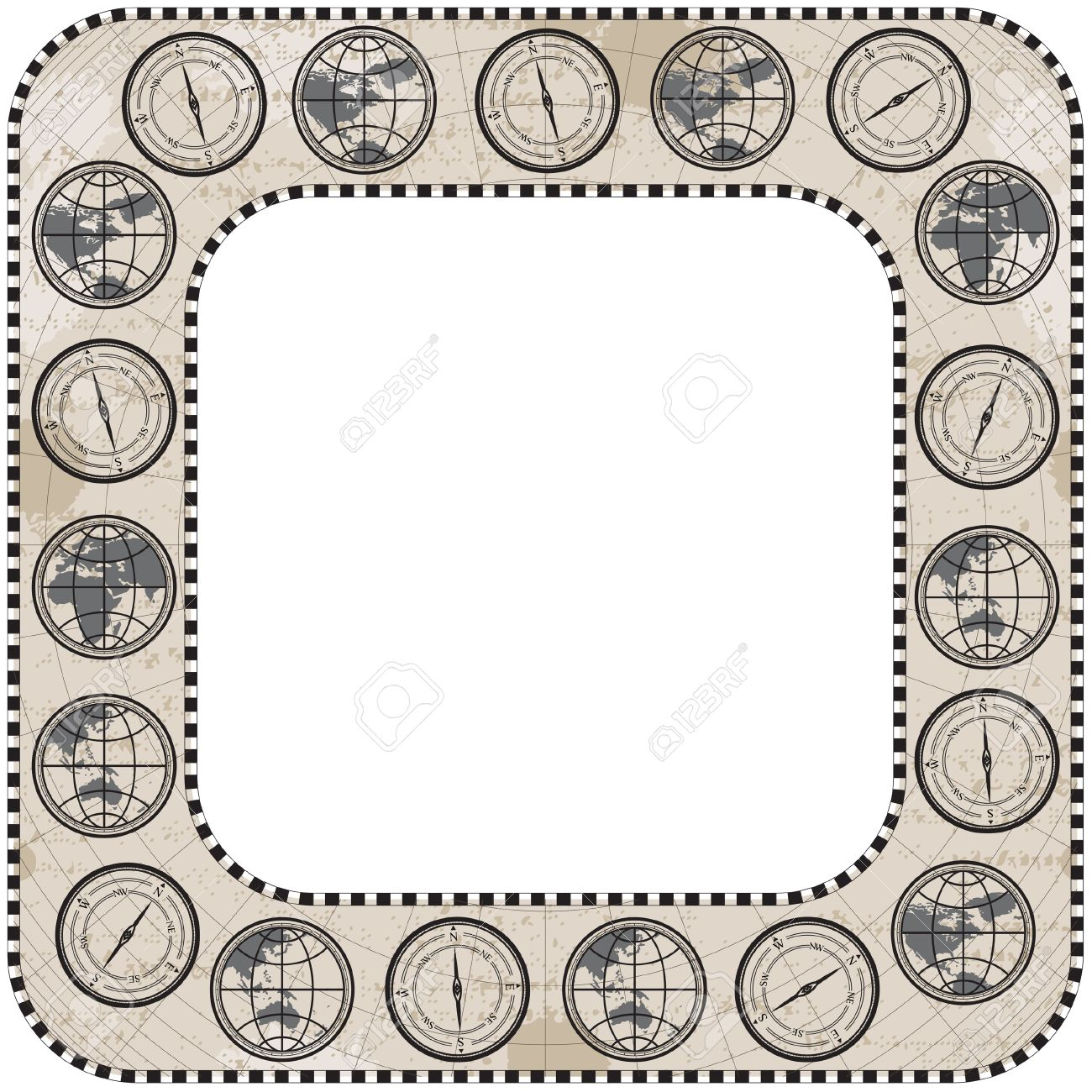 retro antique square frame border with round corner globe compass and map stock vector