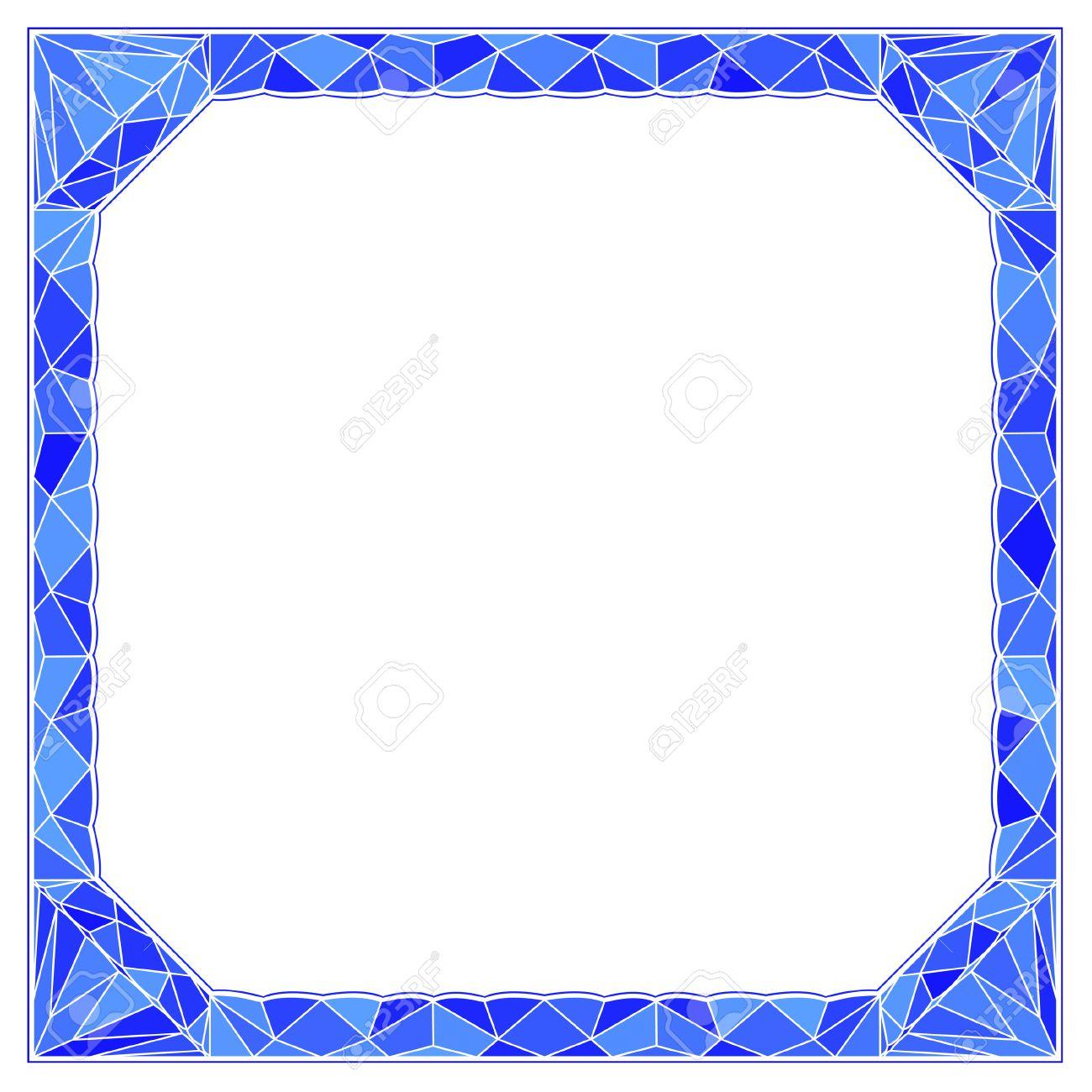 Marco, Frontera Con Línea Azul Geométrico Del Diamante Ilustraciones ...