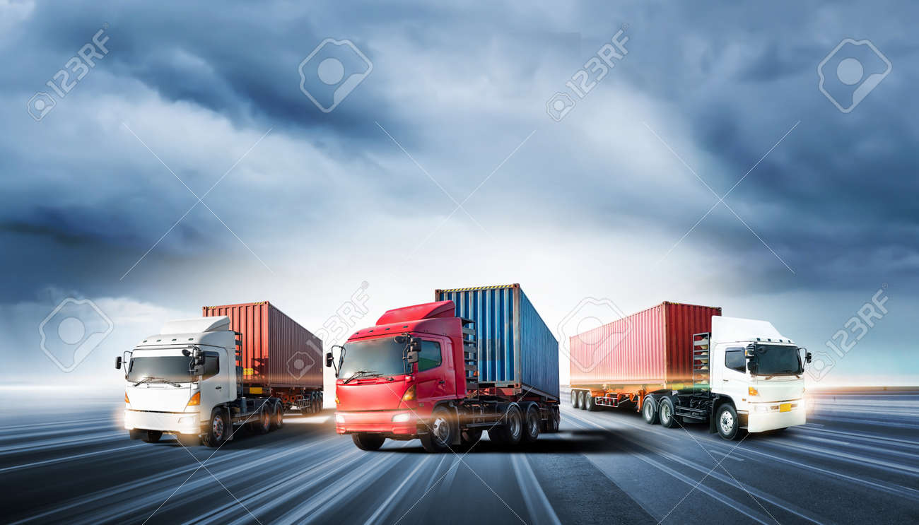 Truck transport with red container on highway road at sunset, motion blur effect, logistics import export background and cargo transport industry concept - 155819093