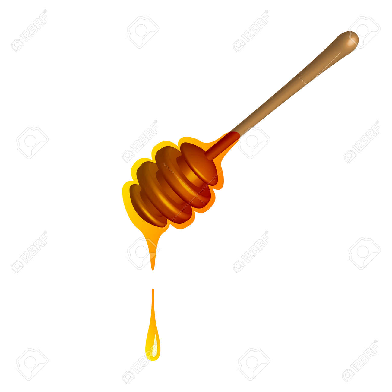 Nectar dripping from spoon 3d icon. Yellow symbol sweet honey flowing from wooden stick and organic delicious bee vector bread. - 167184790