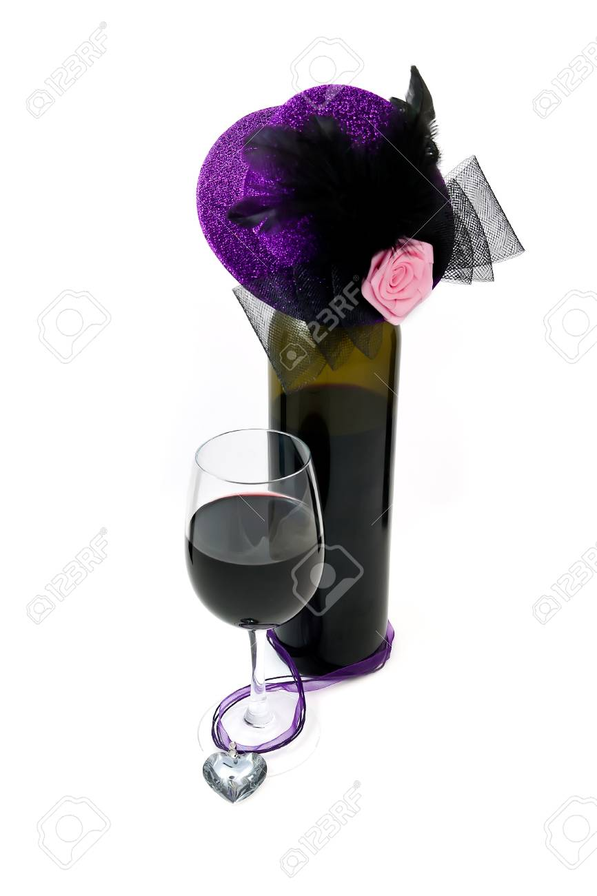 Wine bottle with a hat Stock Photo - 12041376