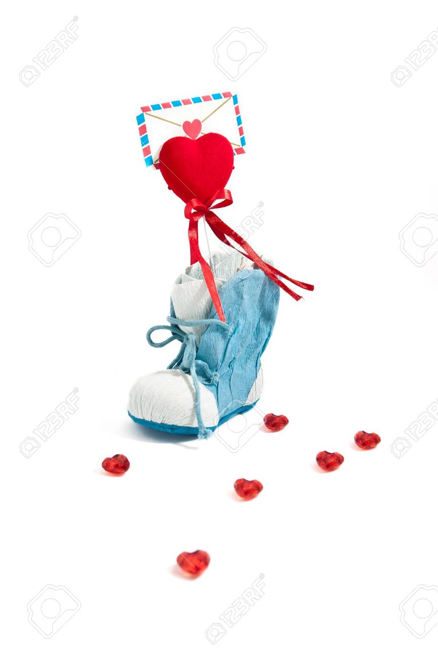 A blue shoe with love letter Stock Photo - 12235937