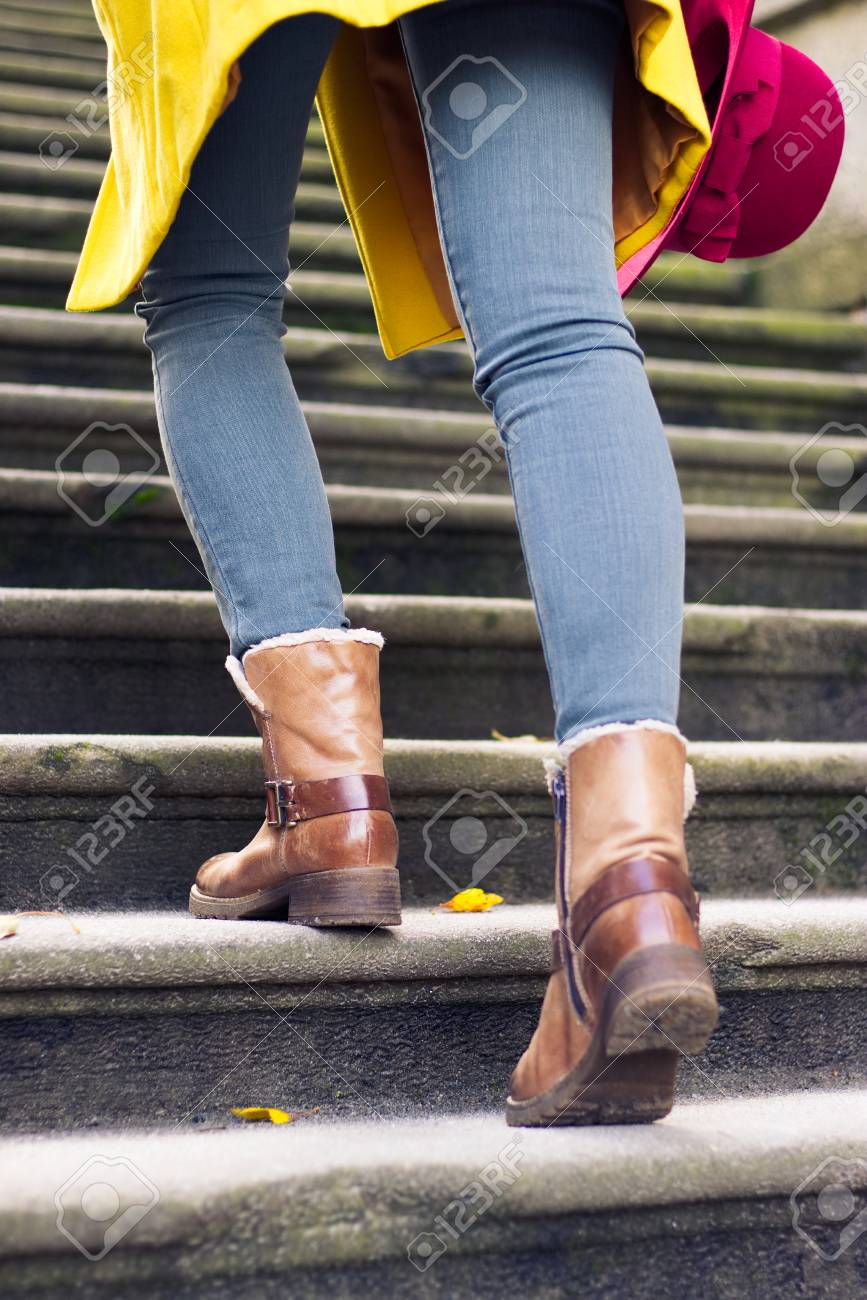 A Stylish Girl Wearing Leather Boots