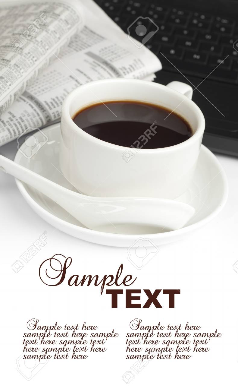 A cup of coffee with notebook and newspaper Stock Photo - 11621593