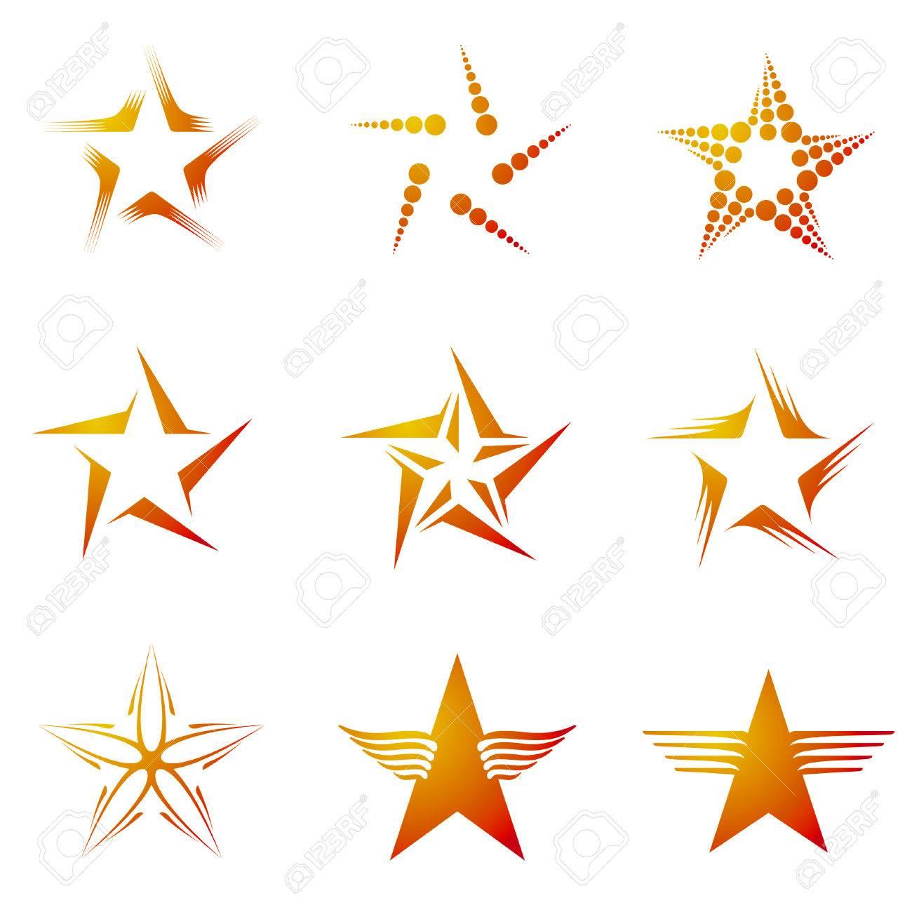 Set of decorative and creative five cornered/pentagonal stars Stock Vector - 4092677