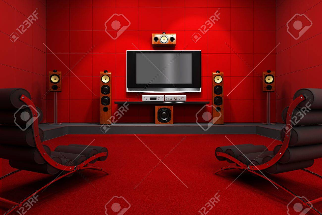 a contemporary home theater room furnished with modern furniture