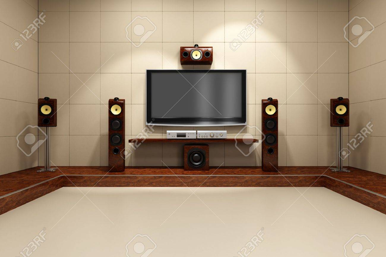 contemporary home theater room furniture. a contemporary home theater room without furniture digitally created and high resolution rendered stock