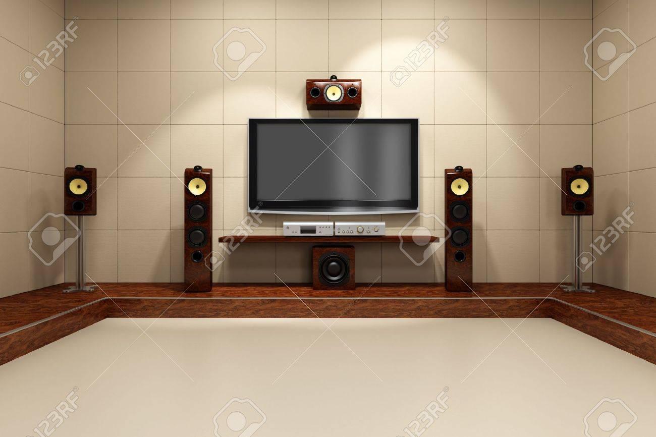 Een eigentijdse home theater kamer zonder meubilair. digitaal