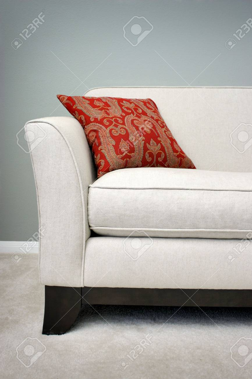Red Pillow on a Sofa Stock Photo - 478085