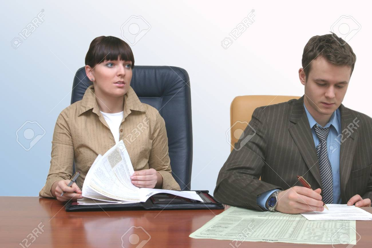 People in the office working at the desk Stock Photo - 433696