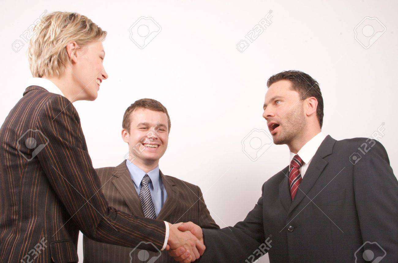 Group of  3 busisness people - man and woman hand shake Stock Photo - 438921