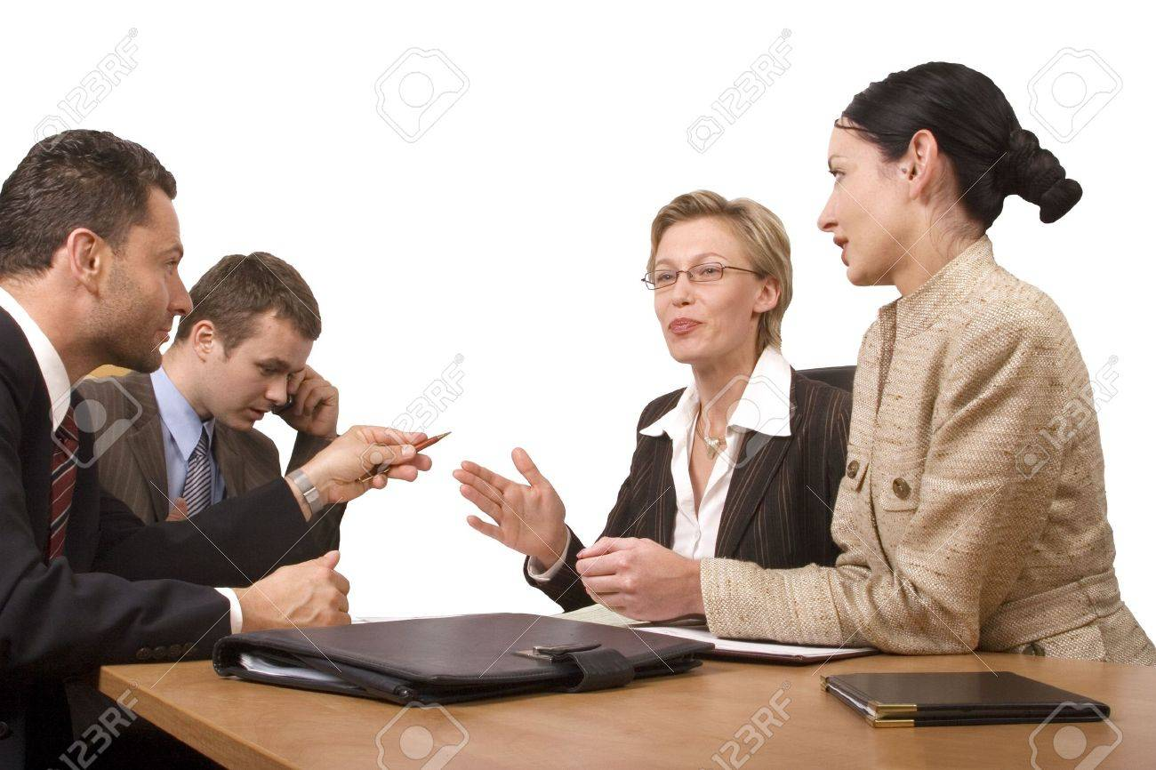 Group of business people,  two women two men negotiate at the desk Stock Photo - 459344