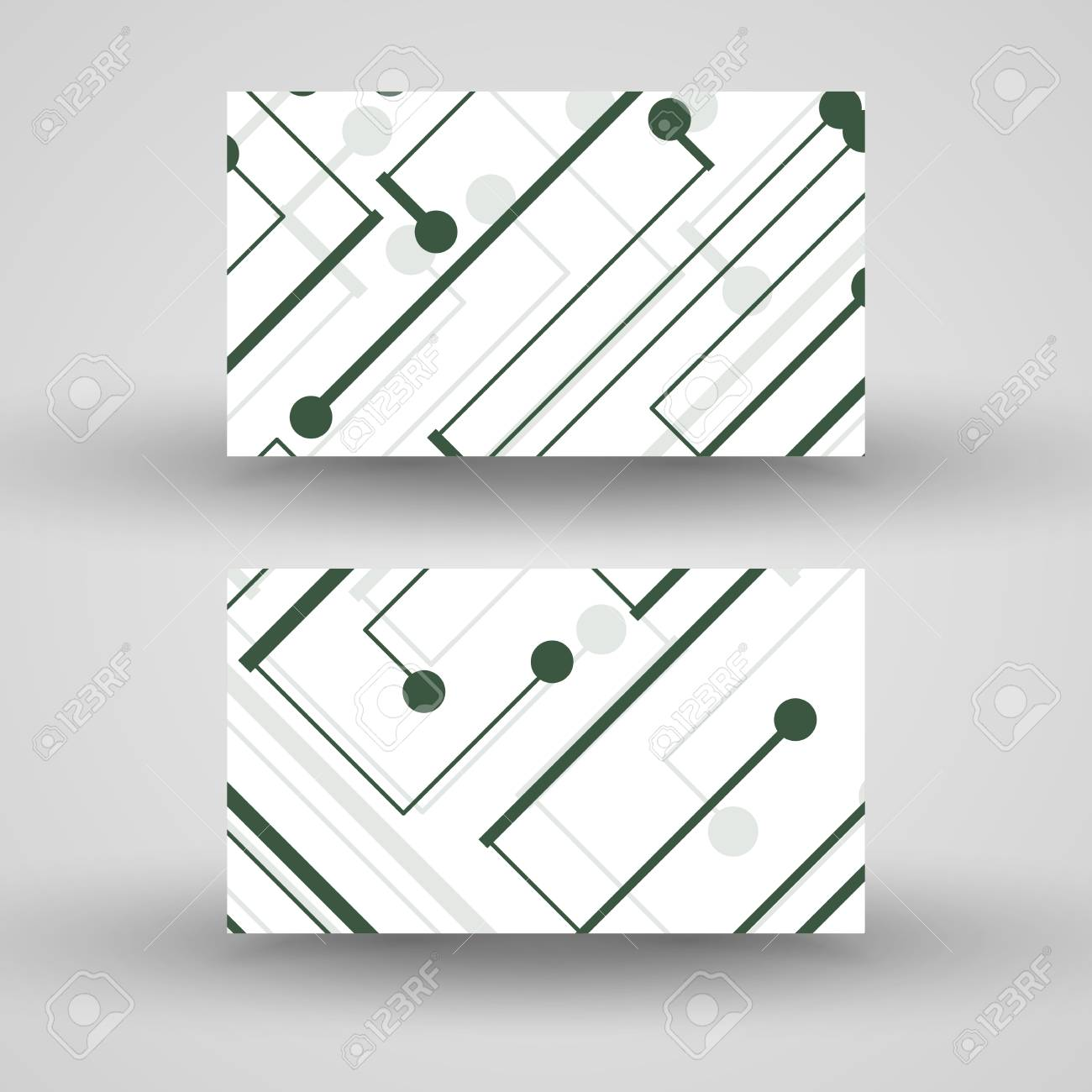 Vector Business-card Set For Your Design, Circuit Board Illustration ...