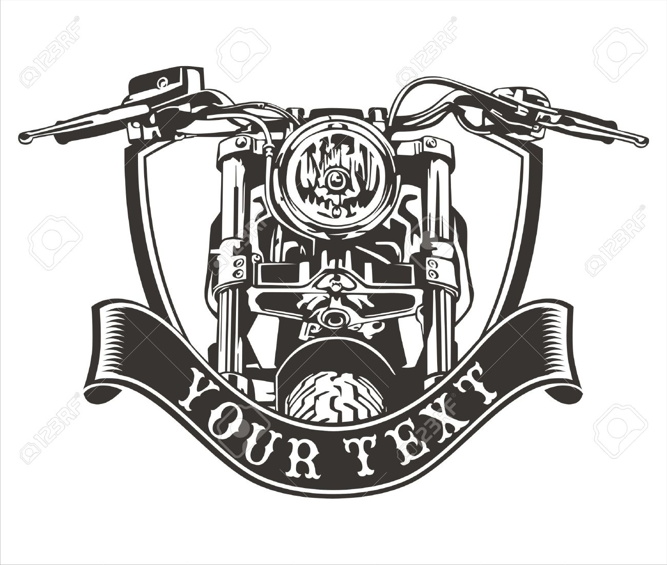 vector design vintage motorcycle with a ribbon below - 52523530
