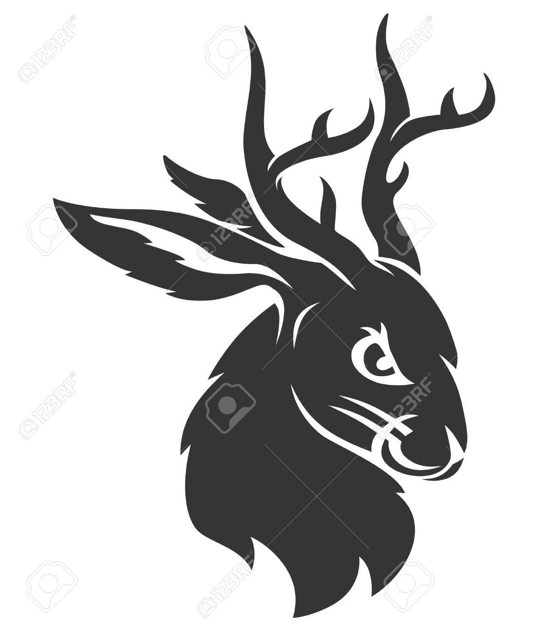 Jackalope black head - 122379118