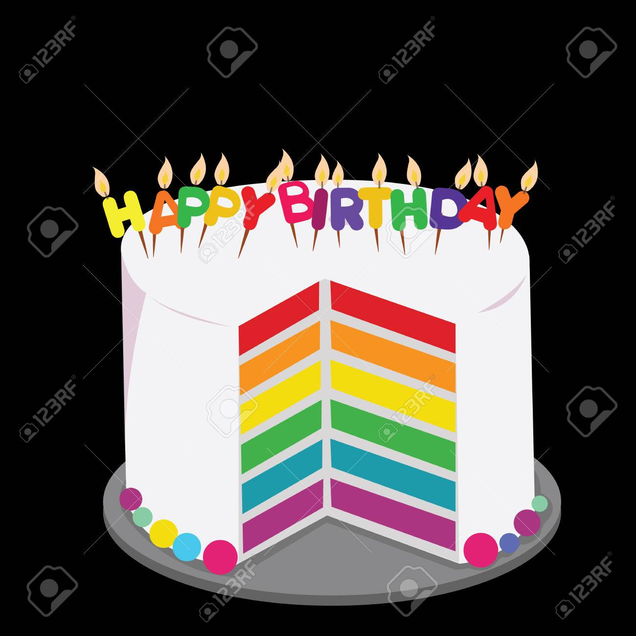 Rainbow Cake Decorated With Colorful Birthday Candles Concept Stock Vector
