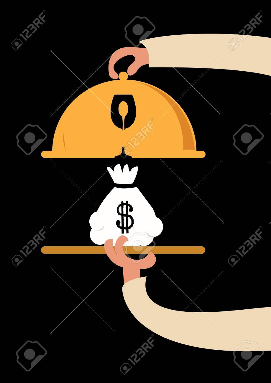 flat design style modern illustration concept of businessman offering a money on the serve plate Stock Vector - 28911887