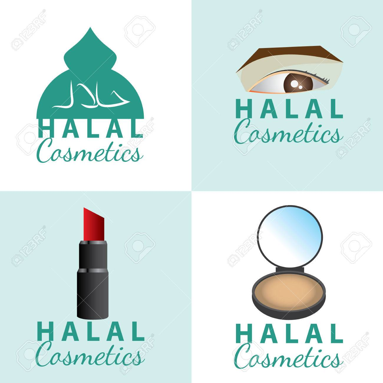 set of certificate of halal (permissible) cosmetics icon  vector