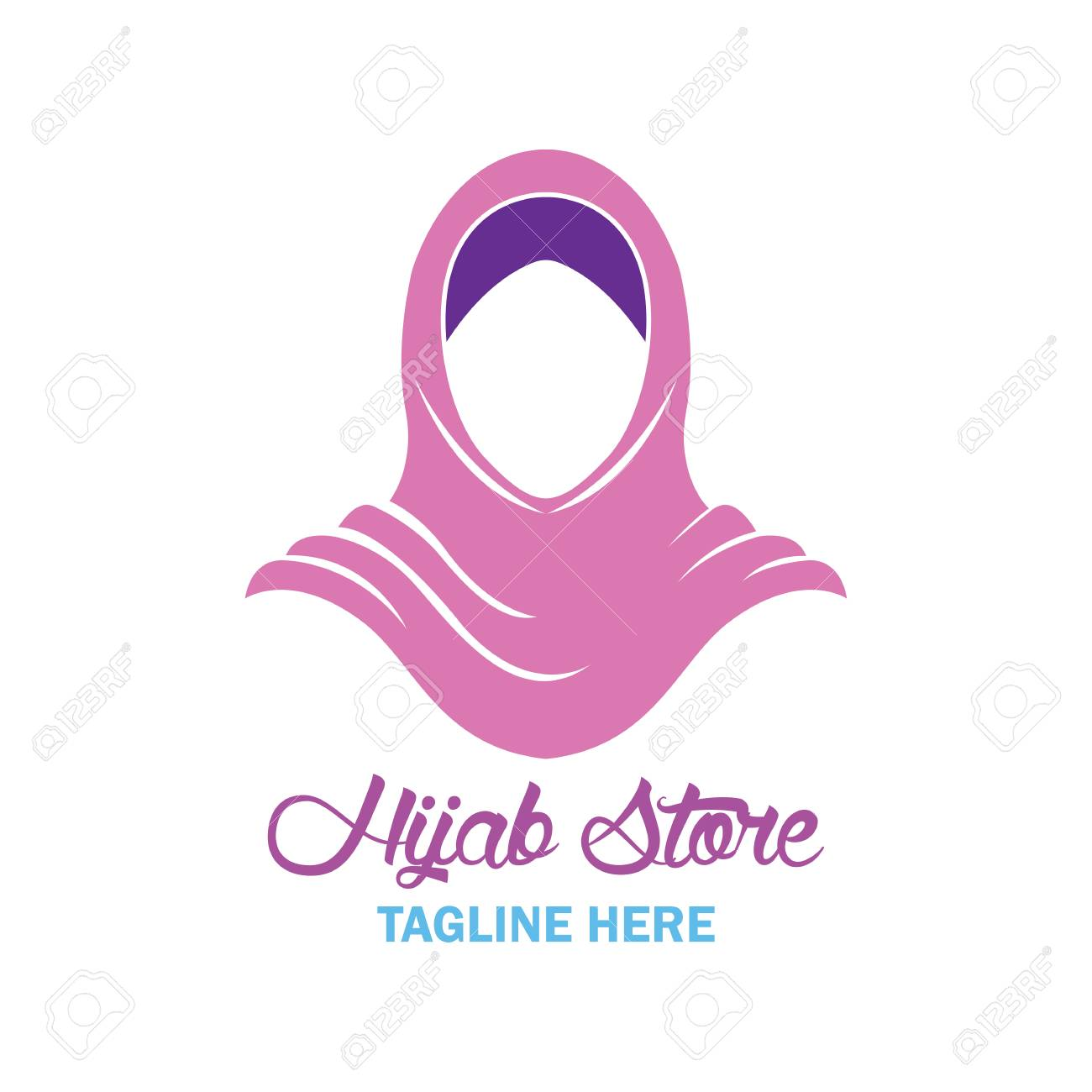 hijab logo with text space for your slogan / tag line, vector illustration  Stock Vector