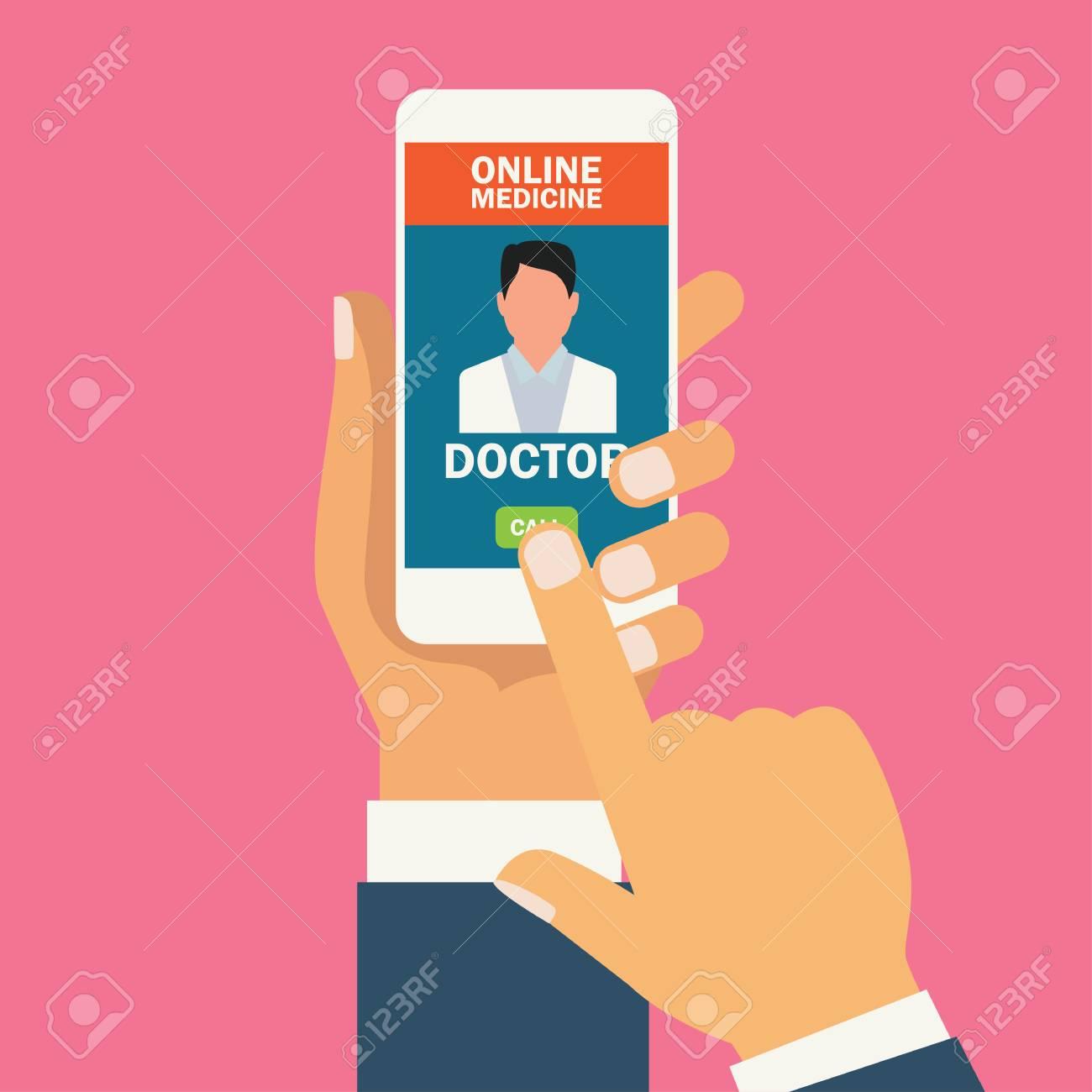 order online medicine on smartphone application. vector illustration - 123251767