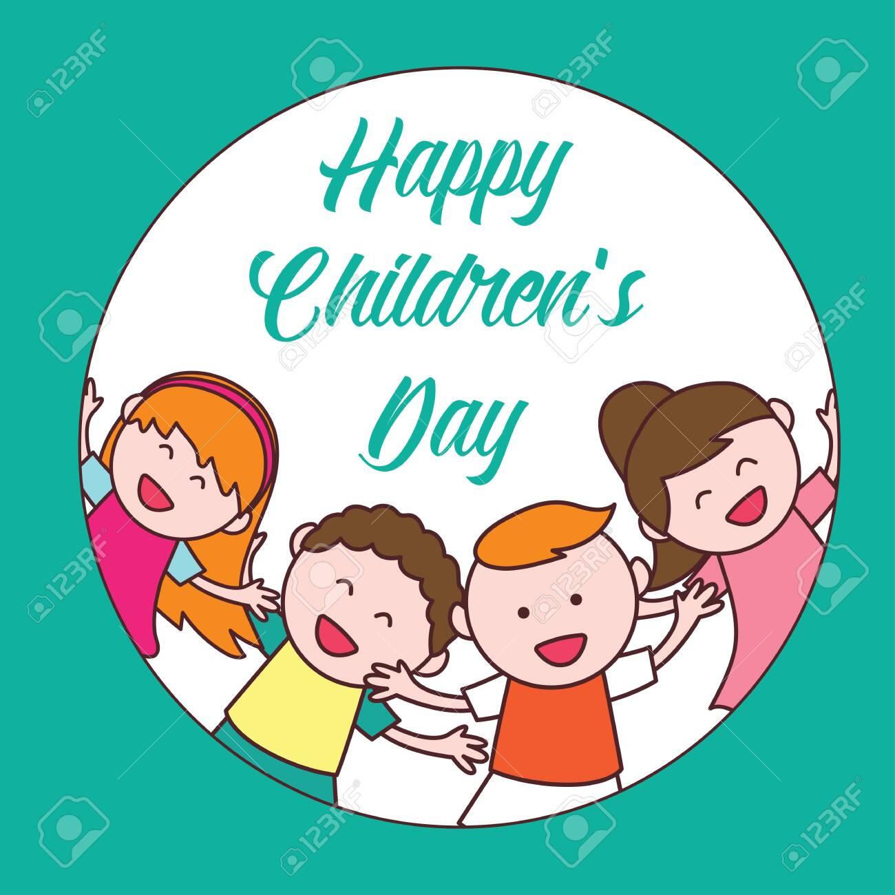 Happy children day logo illustration   Stock vector   Colourbox