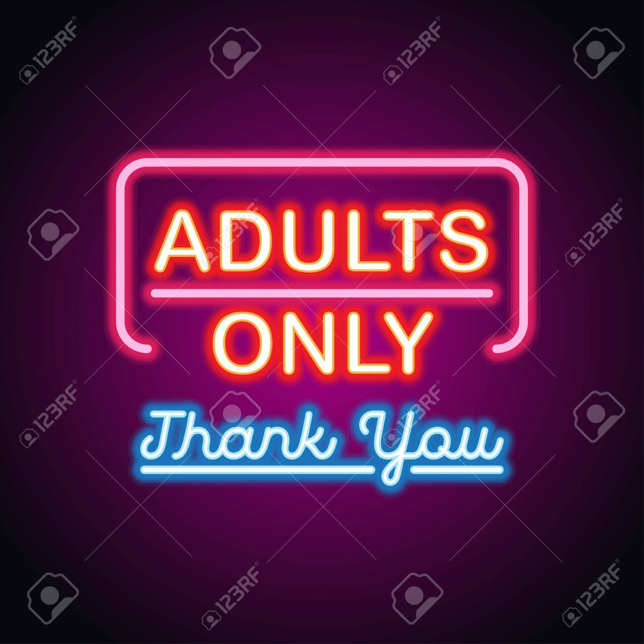 adults only glowing box for outdoor business advertising neon