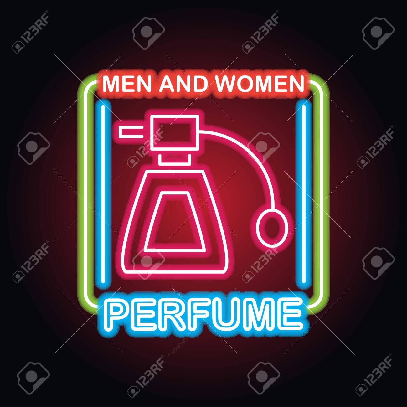 men and women perfume fragrance with neon sign effect, vector illustration - 125211060