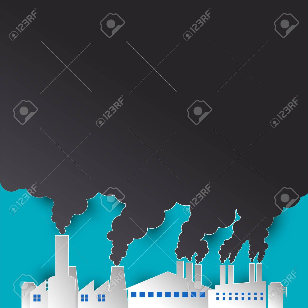 polluting air from factory pipe and cesspit, environmental for pollution concept. vector illustration - 126670386