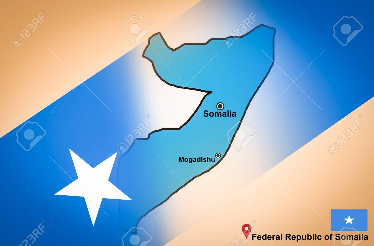 Somalia Map And Mogadishu With Location Map Pin And Somalia Flag