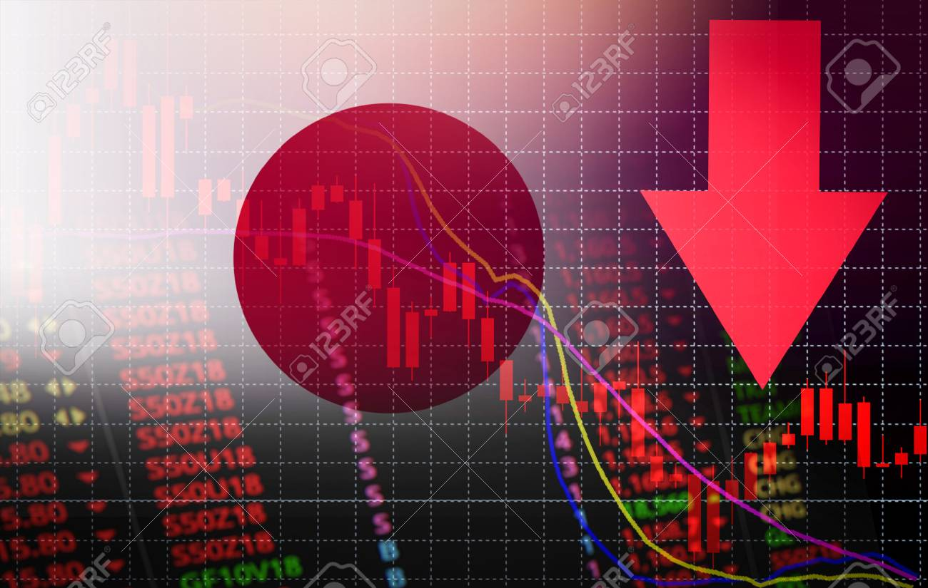 Japan tokyo stock exchange market crisis red price arrow down chart fall / nikkei stock exchange market analysis forex graph business money crisis moving down inflation deflation with flag of Japan - 114139998