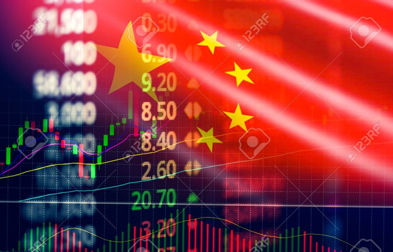 China stock market exchange / Shanghai stock market analysis forex indicator of changes graph chart business growth finance money crisis economy and trading graph with China flag - 115393398