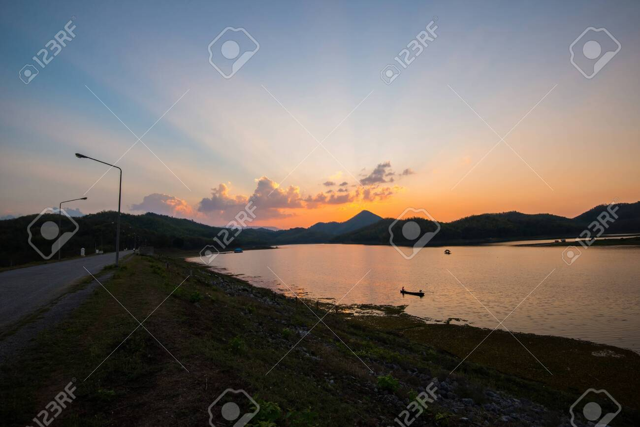 Twilight Sky River Sunset Blue And Orange Color Landscape Lake
