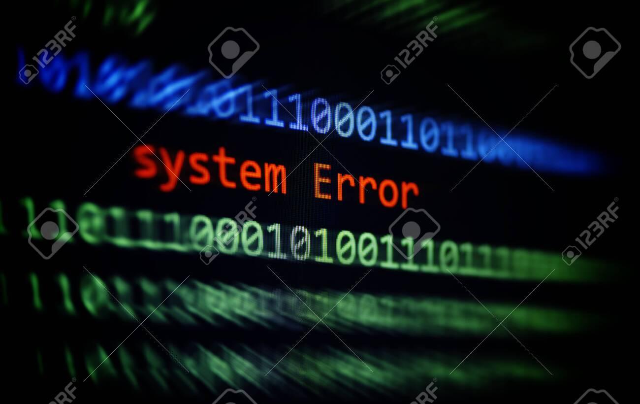 Technology binary code number data alert System Error message on display screen / Computer network problem error software concept - selective focus - 119819939