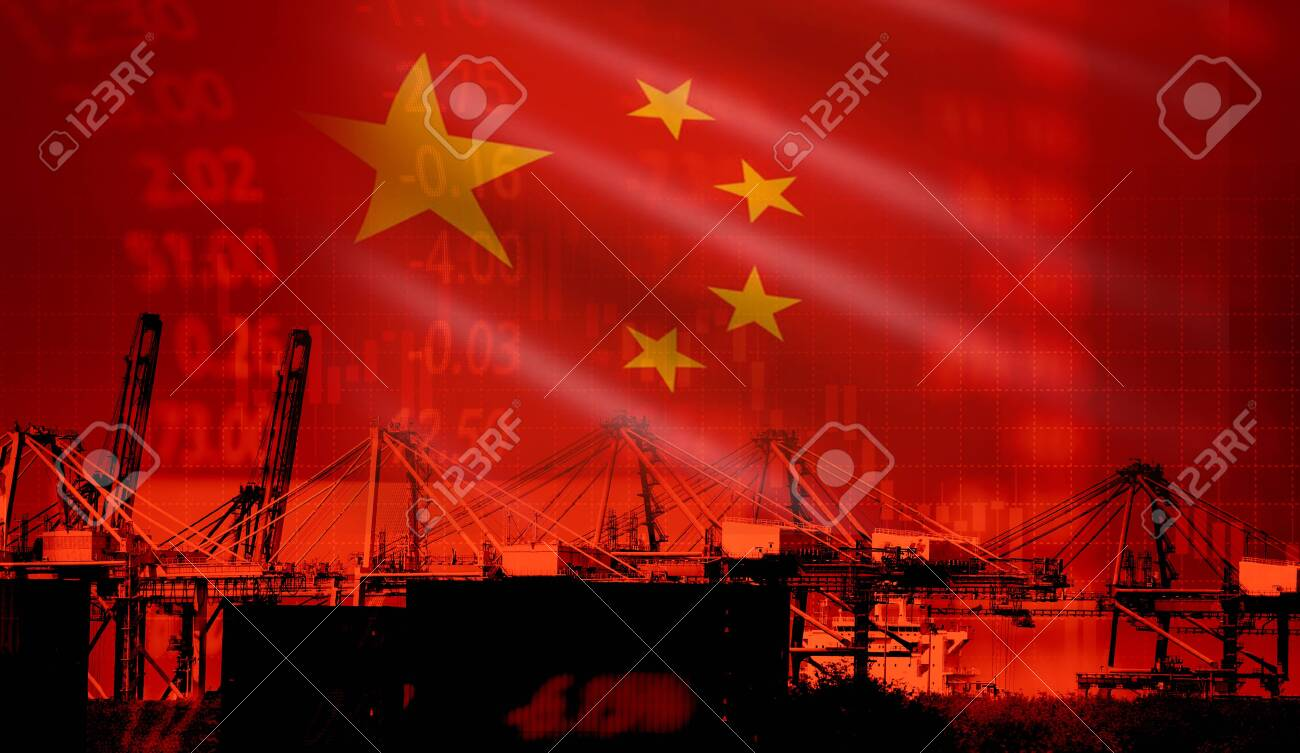China trade war economy conflict tax business finance / China stock market exchange graph chart money crisis raised taxes on industry container ship in export import logistics - 122758119