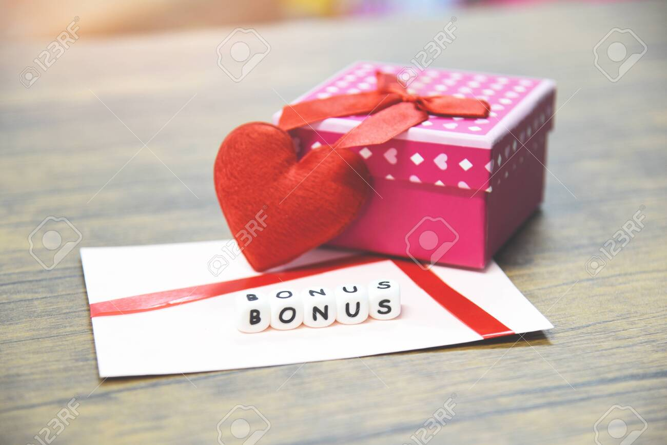 Yearly Bonus Concept Card Bonus In Paper Envelope With Gift
